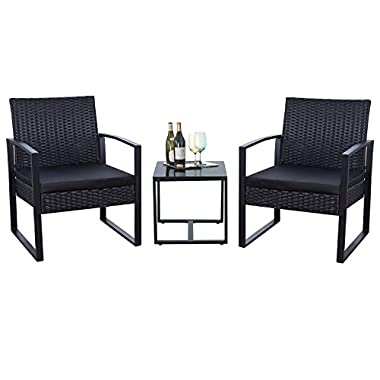 Flamaker 3 Pieces Patio Furniture Set Modern Outdoor Furniture Sets Clearance Cushioned PE Wicker Bistro Set Rattan Chair Conversation Sets with Coffee Table (Black)