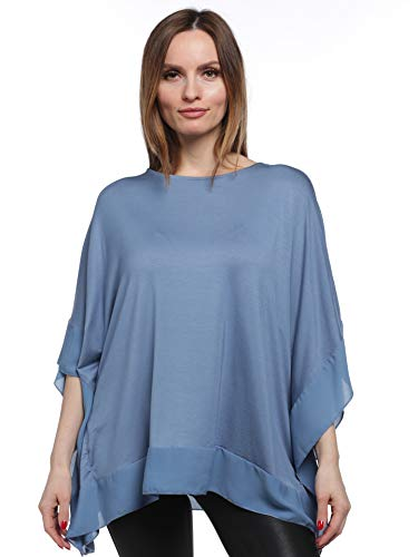 August Silk Women's Scoop Neck Poncho with Trim - 5m19r900, Coronet Blue, Small