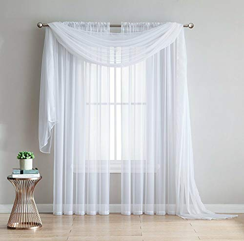 """Empire Home 216"""" Long Sheer Curtain Valance Window/Scarf Great Value 25 Colors (White)"""