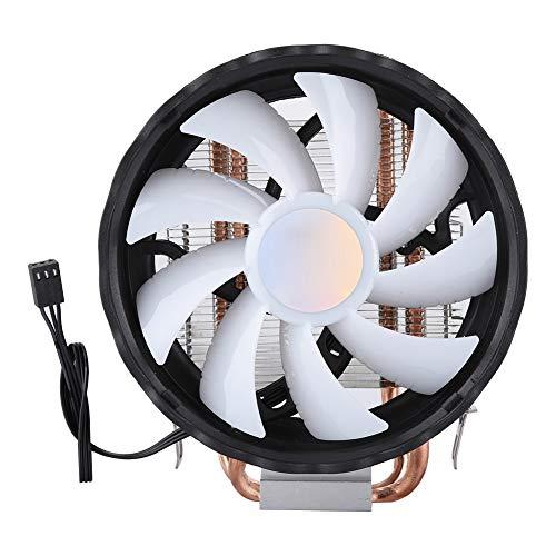 CPU-ventilator, 12 cm CPU-koeler 2-buis Enkele ventilator CPU-koeling Kleurrijke verlichting Luchtkoelventilator voor Intel LGA 775/1155/1156/1366 Voor AMD/AM2 AM2 +/AM3