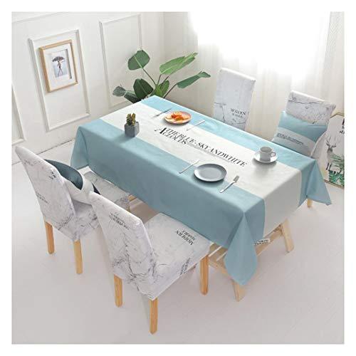GUOCU Mantel de Algodón de Lino Rectangular Mantel de Mesa Impermeable Antimanchas Decoración para Cocina Comedor Fiesta Mantel Silla Juego de Tela Carta Azul Cinco Fundas para sillas