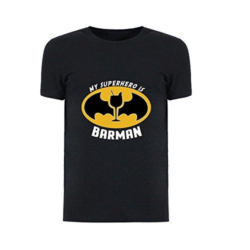 Altra Marca T-Shirt Uomo Nera Personalizzata Maglietta Maschile Originale My Superhero is Barman - M