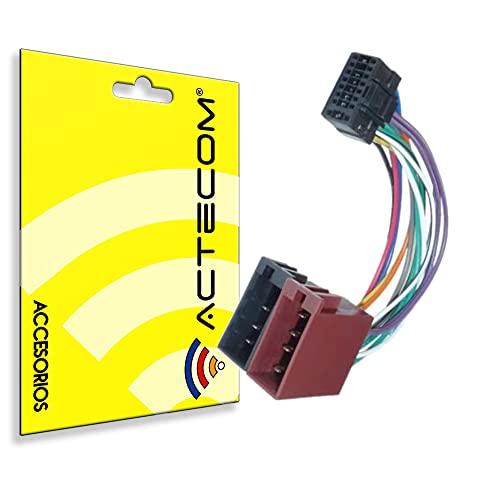 ACTECOM Adaptador ISO de Radio de coche, Cable de 16 pines, conector din Universal, compatible con Pioneer, estéreo, Kenwood, autorradio, Audiovox, JVC, etc.