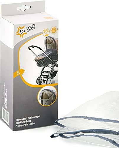 DIAGO, Telo anti pioggia (per culla o passeggino), Bianco (Transparent)
