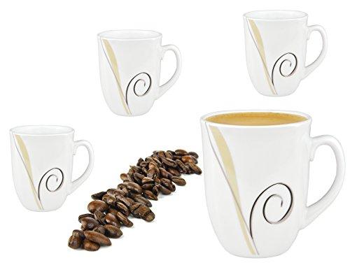 Van Well 4er Set Kaffeebecher 330ml weiß - Verschiedene Dekore wählbar, Dekor:Theresa