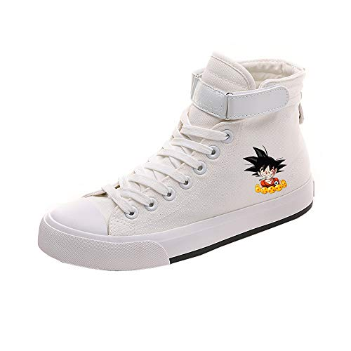 Dragon Ball Schuhe Wilde Art-Normallack-britischer Art-beiläufige Schuh-Kursteilnehmer-Schuh-Segeltuchschuh-Beleg beständig (Color : White06, Size : EU36 US5.5)
