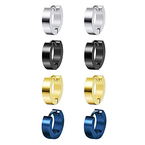 4 Pairs Mix Color Hoop Earrings Stainless Steel for Men Women Girls Boys, Hoop Men Earrings, Small Hoop Earrings Men, Helix Cartilage Conch Daith Earring Ear Piercing