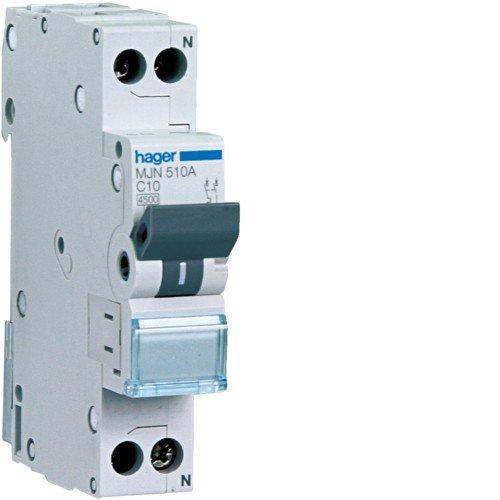 Hager MJN510A - Interruttore Automatico 1P+N 4.5kA C-10A 1M
