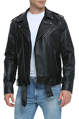 Fahsyee Leather Jackets for Men, Faux Motorcycle Lapel Asymmetric Zip-Up Blet Slim Fit Biker Coat Black L