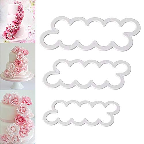 CAOLATOR Lot de 3 Emporte-Pieces Rose Petal Sugarcraft Moules Patisserie Tampon pour Decoration Gateaux Sugar Craft Patisserie Fondant Cuisine Outil ustensile