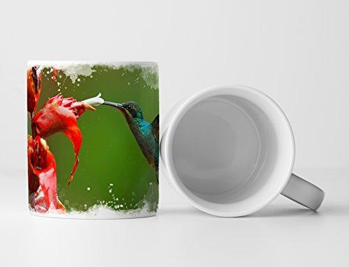 Eau Zone fotokunst mok geschenk groene colibri vliegen voor rode bloemen