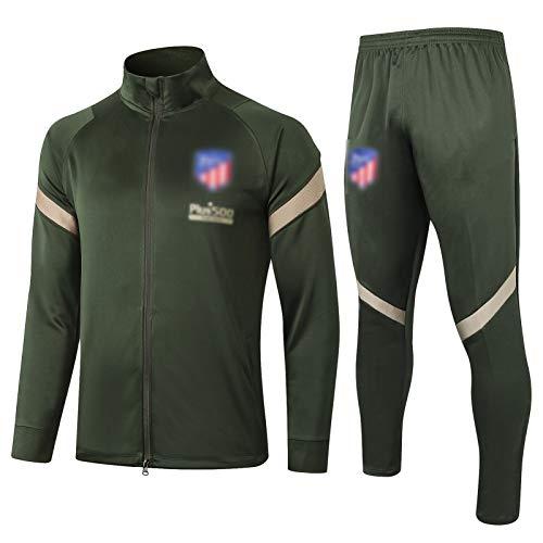 BVNGH Atlético Madrid - Traje de entrenamiento de camiseta de fútbol, manga larga 2021, tejido elástico profesional suelto (S-XXL), color verde militar