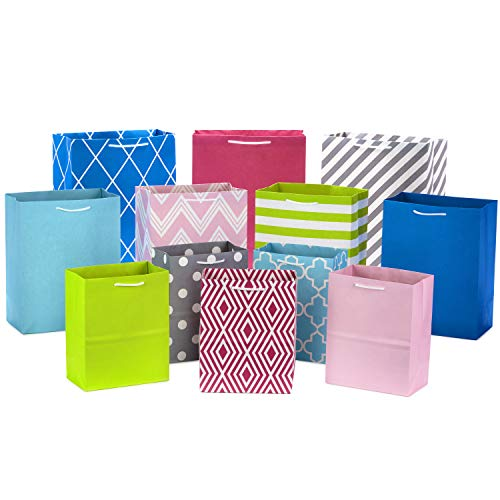 Hallmark Pastel Gift Bags in Assorted Sizes (Pack of 12 - 5 Medium 8',...