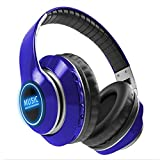 Wsaman Cancelación de Ruido Auriculares Bluetooth de Entrenamiento, Ajustables por portátiles sobre Auriculares inalámbricos de bajo demora con HD Stereo para Airpods Android Gaming PC,Azul