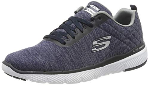 Skechers Flex Advantage 3.0-Jection, Zapatillas Hombre, Multicolor (NVY Black Mesh/Trim), 44 EU