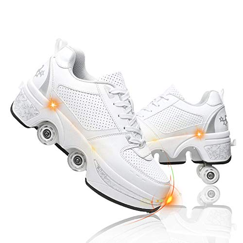 MQJ Patines para Mujeres Al Aire Libre, Ajustable Cuatro Rondas de Zapatos para Correr para Principiantes Zapatos Automáticos para Caminar Zapatos de Polea Invisibles con Doble Fila de Deforión,Plat
