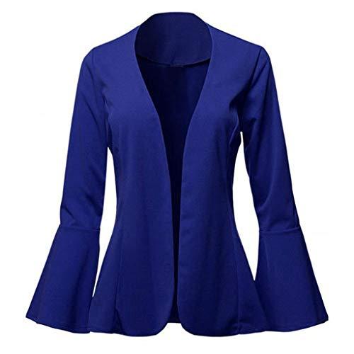 Xmiral Anzug Damen Einfarbig Slim Fit Kragenlos Blazer Strickjacken Flare-Ärmel Büro Mantel Dünn Jacke für Business Arbeit Hochzeit(Blau,XL)