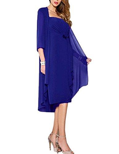 HUINI Brautmutter Kleider mit Jacke Wadenlang Chiffon Perlen Hochzeitskleid Abendkleid Ballkleid Festkleider Königsblau