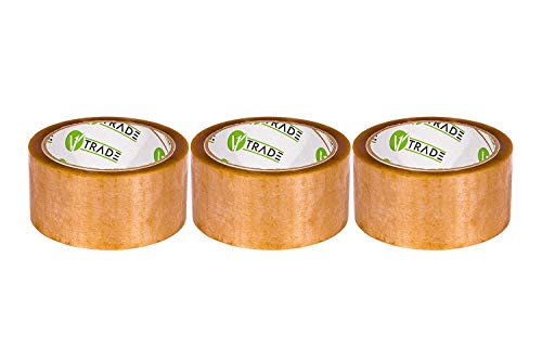V1 Trade - Klebeband Transparent Packband SOLVENT-Klebeband - Paketklebeband, Packing Tape für Pakete und Kartons (48 mm x 66 m (3 Stück))