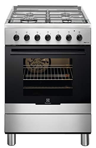 ElectroluxRKK61380OX Cucina Elettrica 4 Fuochi a Gas, Forno Elettrico Multifunzione Ventilato Classe A, Dimensioni 60 x 60 cm, Nero
