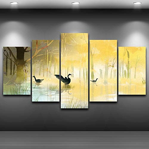 PUHAHA® Bilder Schwarzer Schwan des gelben Waldes 200x100cm 5 Teilig Leinwandbilder Bild auf Leinwand Wandbild Kunstdruck Wanddeko Wand Wohnzimmer Wanddekoration Deko Landschaft