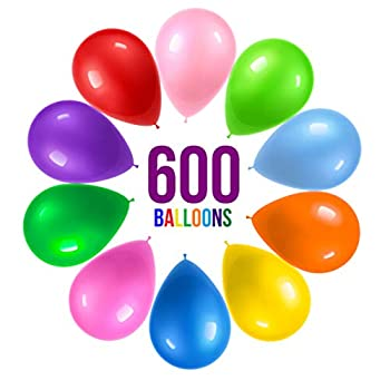Prextex 600 Party Balloons 12 Inch 10 Assorted Rainbow Colors - Bulk Pack of Strong Latex Balloons for Party Decorations Birthday Parties Supplies or Arch Decor - Helium Quality