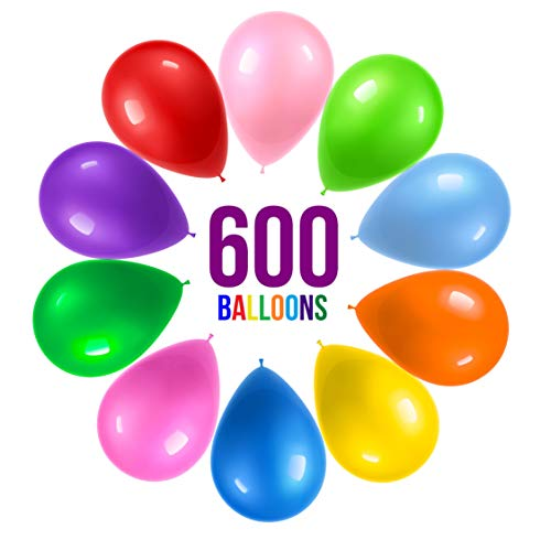 Prextex 600 Party Balloons 12 Inch 10 Assorted Rainbow Colors - Bulk Pack of Strong Latex Balloons for Party Decorations, Birthday Parties Supplies or Arch Decor - Helium Quality