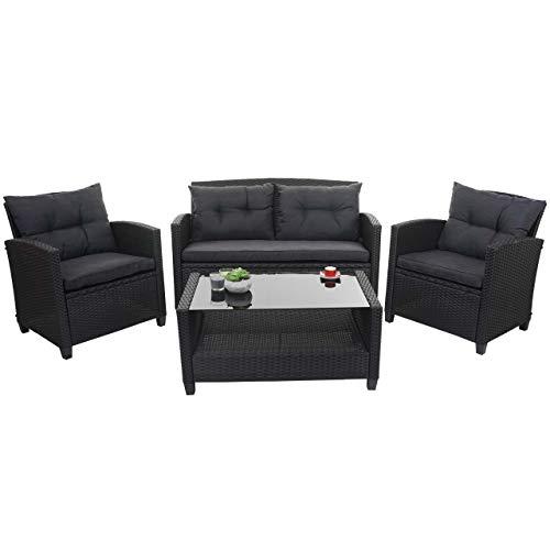 Mendler XXL Poly-Rattan Garnitur HWC-F10, Balkon-/Garten-/Lounge-Set Sitzgruppe, Sofa Sessel mit Kissen Spun Poly - anthrazit - 2