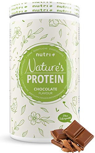 Natures Protein Powder Chocolate Without Sweetener 500g - Nutri-Plus Lactose-Free Drink Without Lactose and Sugar - as Shake or for Baking - Gluten-Free - Vegan