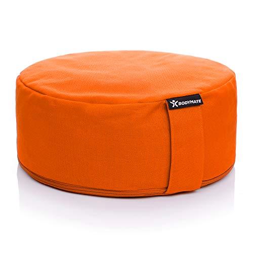 BODYMATE Yogakissen rund 31cm Durchmesser 13cm hoch Orange mit Buchweizen-Spelz Füllung – Maschinenwaschbarer Bezug aus 100% extra Dicker Baumwolle – Meditationskissen – Sitzkissen
