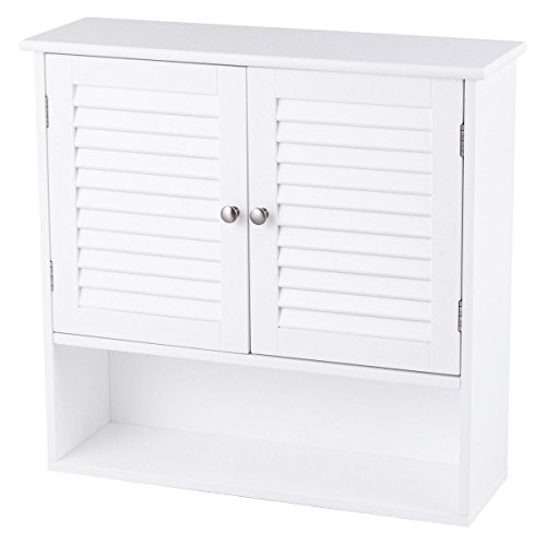 White Wall Mounted Bathroom Over The Toilet Storage Cabinet Shelf Medicine Toiletries Storage Compartments Organizer Above Sink Kitchen Bathroom Bedroom Living Room Use Multifunctional Waterproof