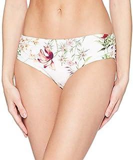 Carmen Marc Valvo Women's Bikini Bottom Swimsuit with Shirred Detail White Large [並行輸入品]