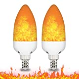E14 LED Flame Effect Light Bulb 3W Flickering Candle Light Bulbs Atmosphere Lamp for Home Gardens Wedding Party Halloween Christmas 2pcs