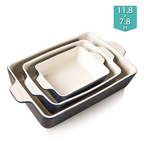 Sweejar Ceramic BakewareSet BakingDish LasagnaPans CasseroleDish Navy
