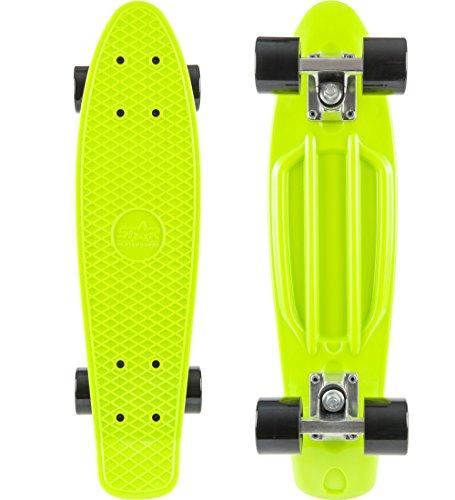 BIKESTAR Vintage Retro Cruiser Skateboard 60mm für Kinder und Erwachsene auch Anfänger ab ca. 6 - 8 Jahre   Grün & Schwarz
