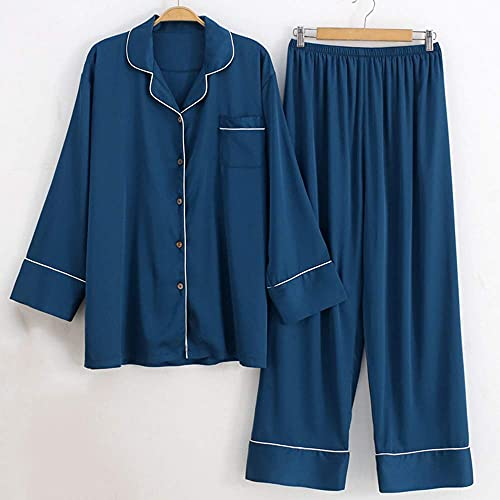 Kleding Satijnen pyjamaset voor dames in grote maten, 2-delige kleding voor thuisgebruik hemdtops en broeken met lange mouwen, Casual pyjamas van zachte ijszijde, Geschikt voor kamers met aircon