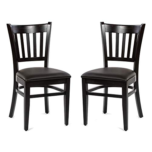 Dublino Holz Esszimmerstühle XTON32/UP/WENGE | 2er Set | Buche mit Kunstleder Sitzfläche | Landhausstil Stuhl in Gastronomie Qualität