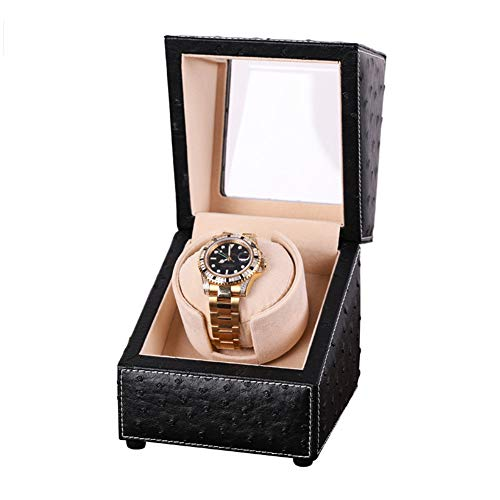 XNDCYX Automatic Single Watch Winder Case with Quiet Motor, Premium Ostrich Leather Exterior and Soft Flexible Watch Pillows, 4 Rotation Mode Setting, AC Or Battery Powered