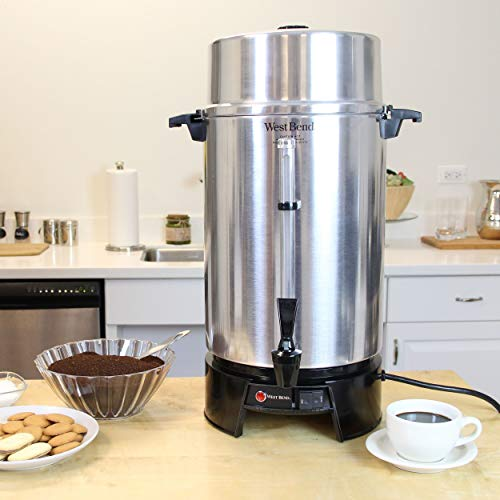 West Bend 33600 Highly Polished Aluminum Commercial Coffee Urn Features Automatic Temperature Control Large Capacity with Quick Brewing Smooth Prep and Easy Clean Up, 100-Cup, Silver