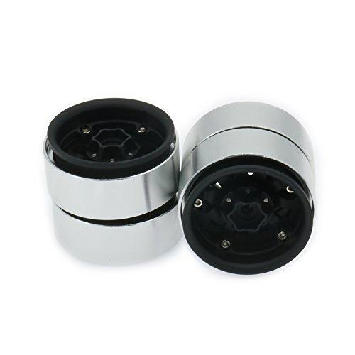 RCAWD 1.9 Beadlock Style Roue en Alliage d'aluminium pour Rc Hobby modèle Voiture 1/10 Traxxas TRX-4 Axial SCX10 CC01 SCX10II TF2 MST Gmade Crawler 4Pcs(Noir)