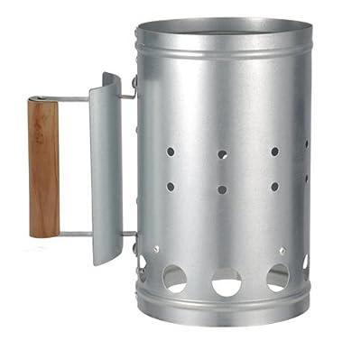 Metall Grillkohleanzünder mit Griff und Hitzeschild - Kohle Anzünder Kohlestarter aus Metall
