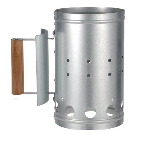 Spetebo Metall Grillkohleanzünder mit Griff und Hitzeschild - Kohle Anzünder Kohlestarter aus Metall