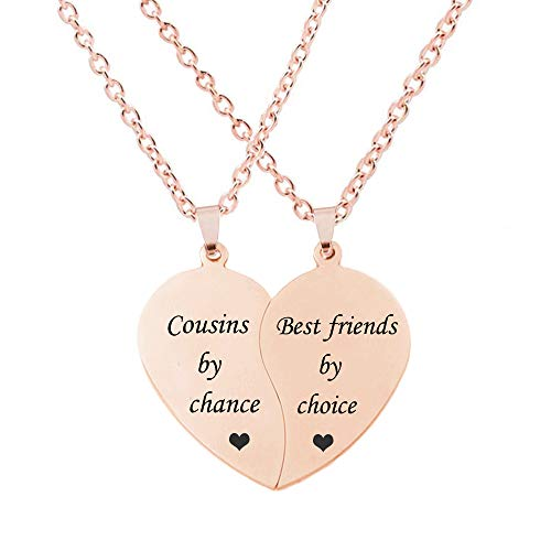 MJartoria BFF Necklace for 2-Split Valentine Heart Necklace Together Forever Never Apart Best Friends Pendant Friendship Necklace Set of 2 Gifts for Her(Rose Gold-Cousins by chance)