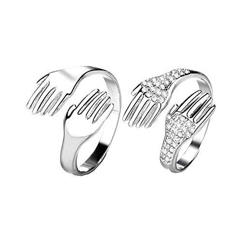 1 par de anillos para parejas que abrazan las manos, dame un anillo para abrazar, anillos abiertos para abrazar las manos, anillos ajustables para abrazos para parejas