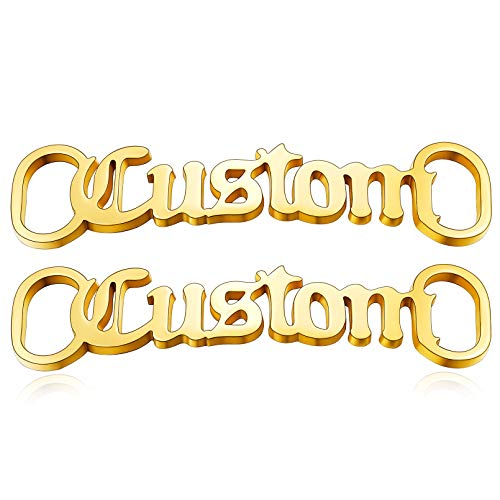 Custom Shoelaces Decorations Charm Nameplate Shoe Buckle 2pcs Gold Accessory Sneakers Shoe Tags for Men Women