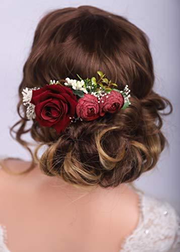 Kercisbeauty Haarband mit roter Rose, für Braut, Hochzeit, Brautschmuck, Vintage-Stil, Burgunderrot mit Blumenkamm