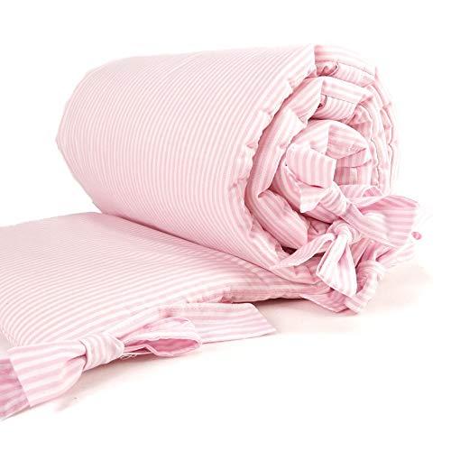 Sugarapple Baby Nestchen Bettumrandung dick gepolstert für Beistellbetten, Kopfschutz und Kantenschutz für babybeistellbetten, Bettnestchen Maße: 170 x 25 cm, Streifen rosa
