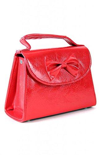 SugarShock Damen Handtasche Rockabilly Koffer Tasche, Farbe:Rot