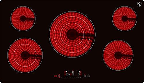 K&H® 5 Zonen Glaskeramikkochfeld rahmenlos 90cm Elektro Autark NC-10208