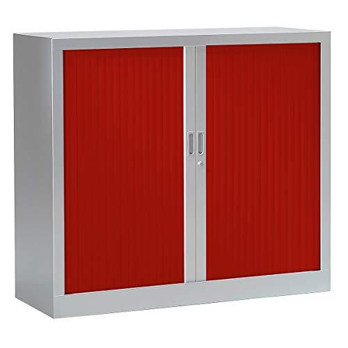 Armoire Monobloc à rideaux | Aluminium | Rouge | HxLxP 1000 x 1200 x 430 | Certeo